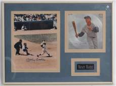 Signed New York Yankee Mickey Mantle Photo with Record