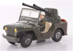 Japanese Tin Friction US Army Jeep with Guns
