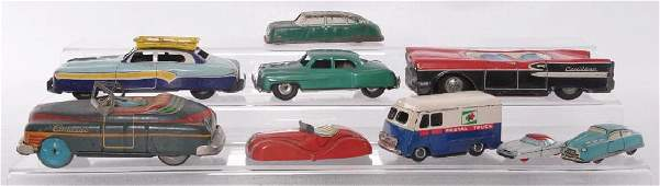 Group of 9 Vintage Tin Litho Vehicles