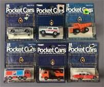 Group of 6 Tomy Pocket Cars Die-Cast Vehicles In