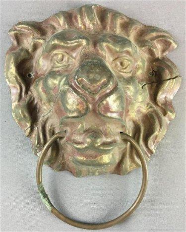 Antique Brass Lion Head Door Knocker