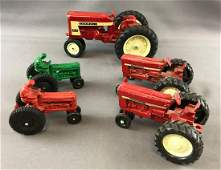 Group of 5 vintage toy tractors