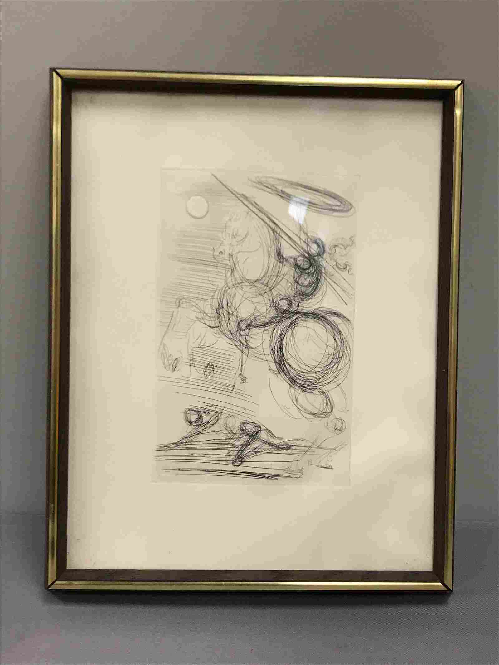 Framed Artwork etching Don Quixote Salvador Dali