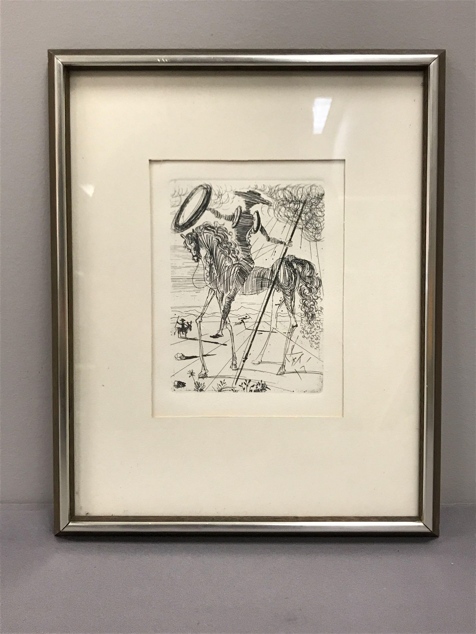 Framed artwork etching Salvador Dali Don Quixote