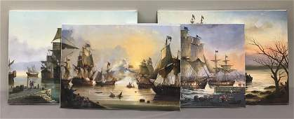 Group of 4 Giclee on canvas ship paintings