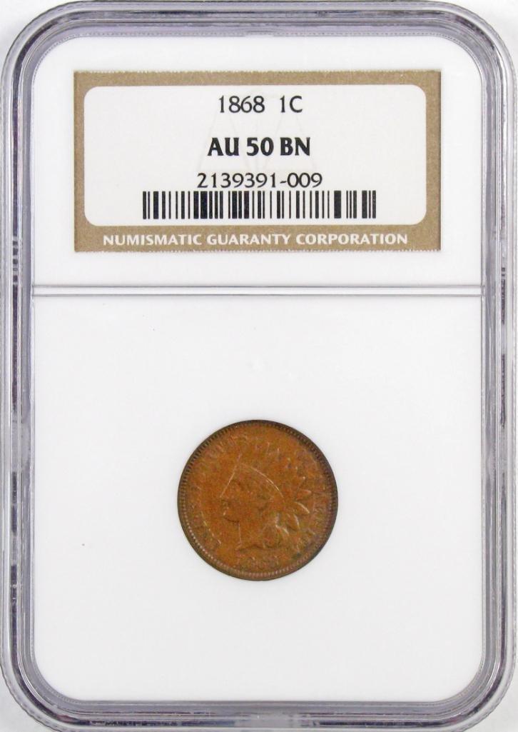 1868 Indian Head Cent (NGC) AU50BN.