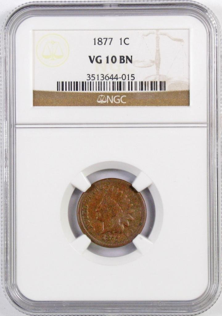 1877 Indian Head Cent (NGC) VG10BN.