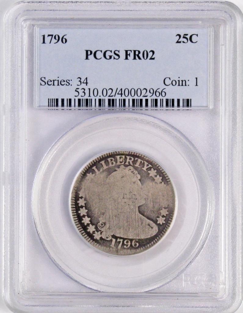 1796 Draped Bust Silver Quarter (PCGS) FR02.