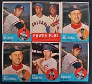 Group of 6 1963 Topps Baseball Cards