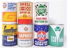 Group of 7 Vintage Full Can of Motor Oil