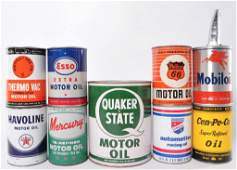 Group of 9 Vintage Cans of Motor Oil