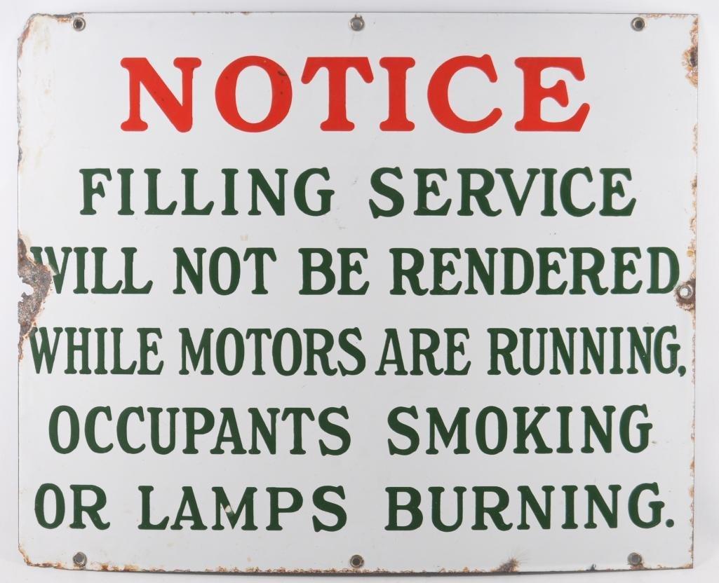 """Vintage """"Notice"""" Porcelain Sign"""