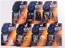 Group of 7 Star Wars Power of the Force Action Figures