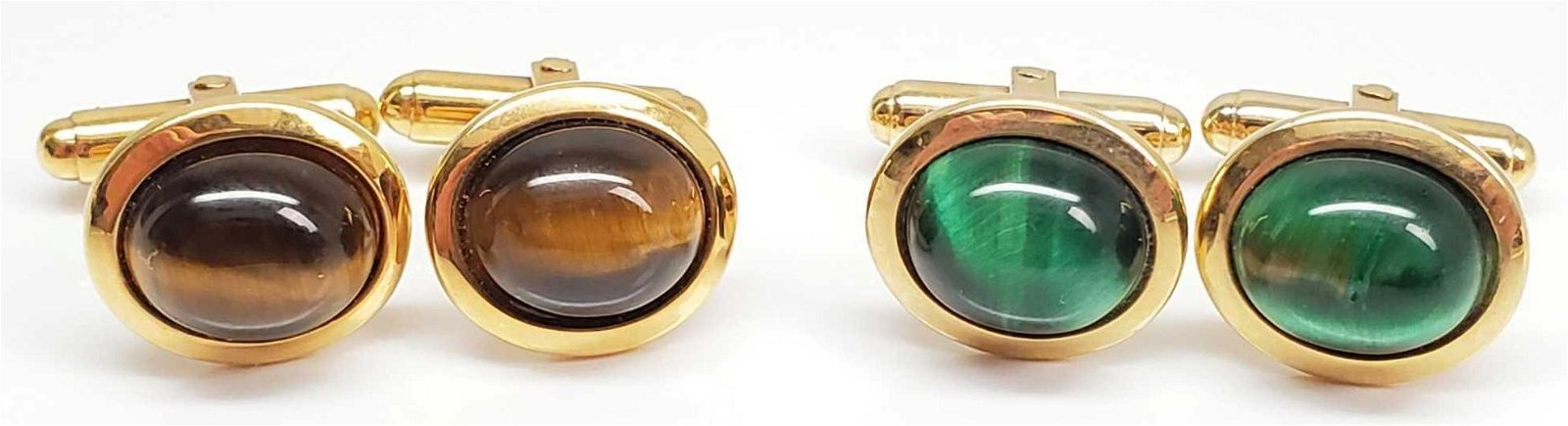 Lot of 2 Pairs : Tiger's Eye Cufflinks - Green and