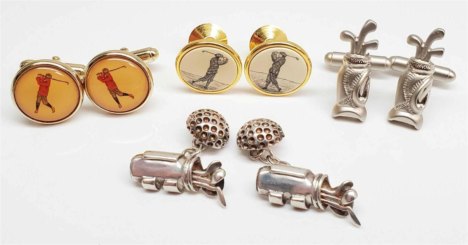 Lot of 4 Pairs : Golfing Cufflinks - Vintage Barlow,
