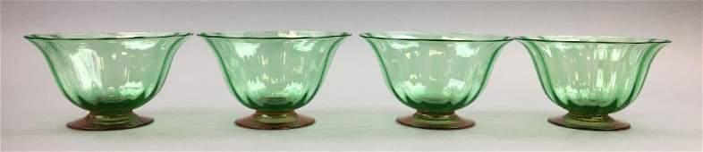 Set of 4 : Steuben Pomono Green Ribbed Swirl Bowls