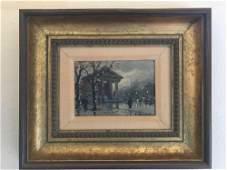 "Artist signed Impressionist ""City Scene"" Oil on Board"