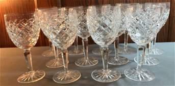 Group of 13 Vintage Waterford Crystal stemware glasses