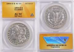1894 O Morgan Silver Dollar (ANACS) AU50 details.