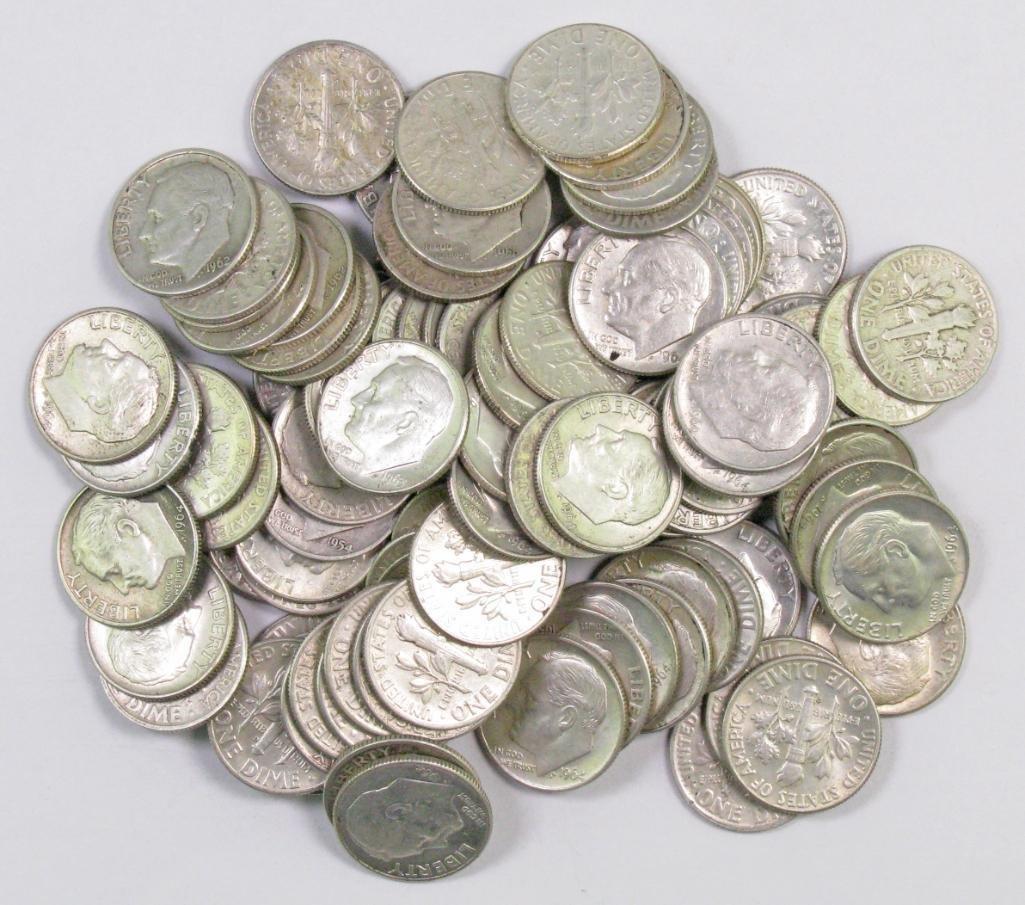 1961-PD 1963-PD Lot of 10 Roosevelt Silver Dimes 1960-PD 1962-PD 1964-PD BU