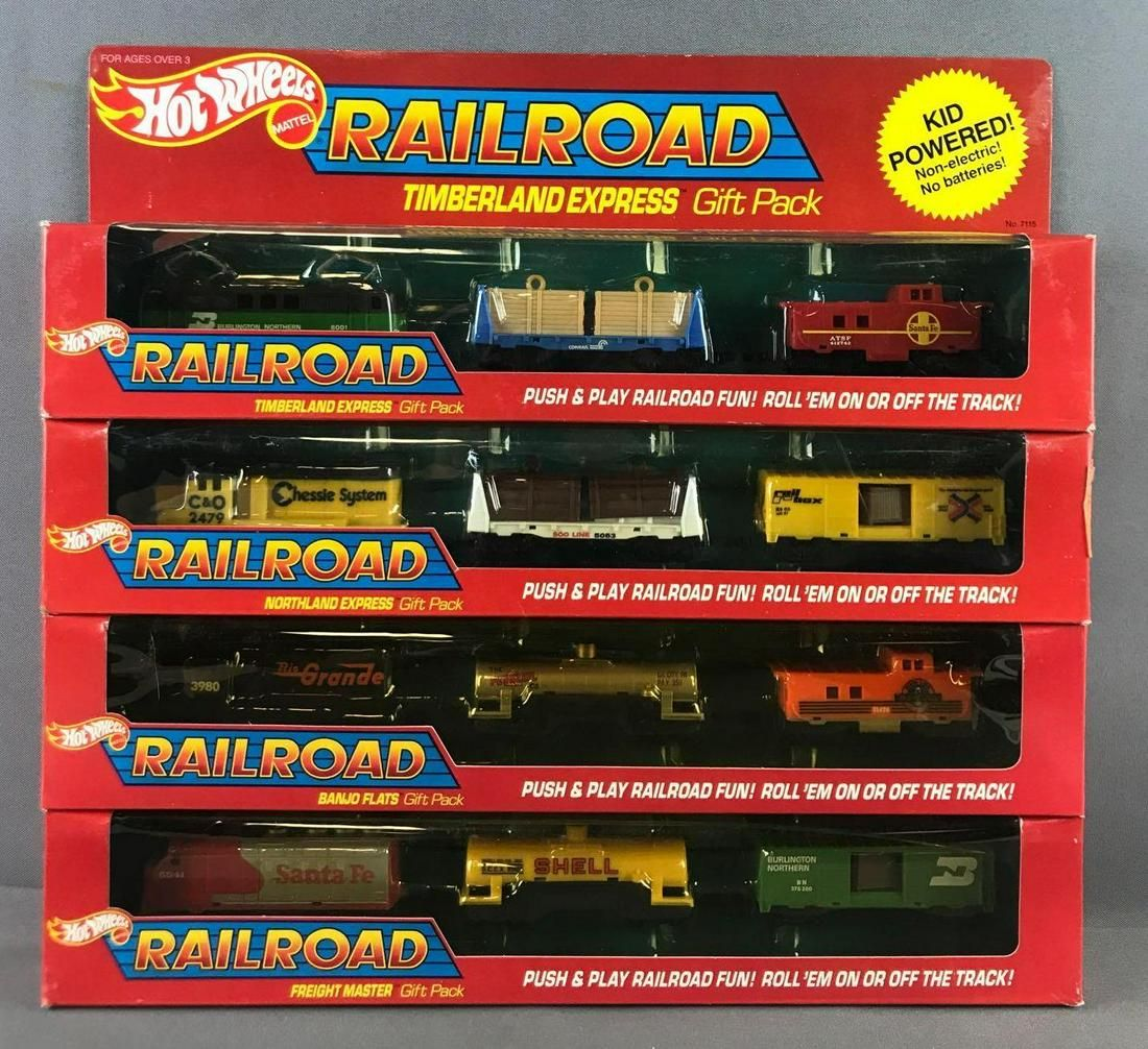 Group of 4 Hot Wheels Railroad Gift Sets in Original