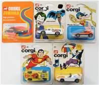 Group of 5 Corgi Junior DC Comics Die-Cast Vehicles in