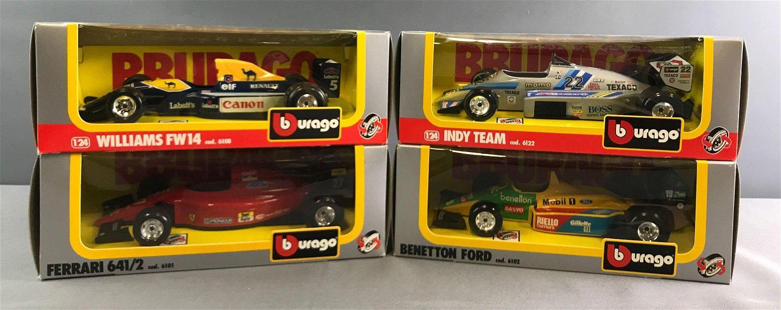 Group of 4 Burago Model Racing Cars