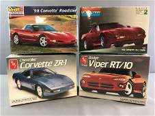 Group of 4 Scale Model Car Kits Corvettes and Viper In
