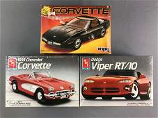 Group of 3 Scale Model Car Kits including Corvettes