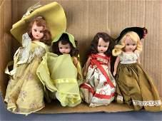 Group of 4 Vintage Nancy Ann storybook dolls with