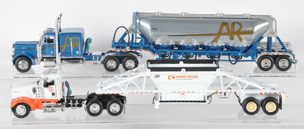Group of 2 DCP Die-Cast Semi Trucks with Trailers