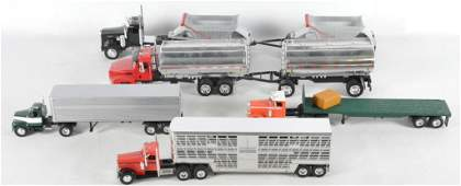 Group of 5 Plastic and Die-Cast Semi Trucks