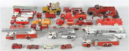 Large Group of Toy Fire Engines and Trucks