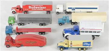 Group of 8 Die-Cast Semi Trucks and Trailers
