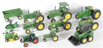 Group of 13 ERTL John Deere Die-Cast Farm Vehicles