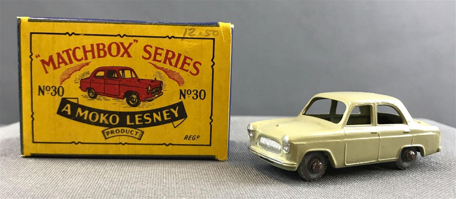 Matchbox No. 30 Ford Prefect die cast vehicle with