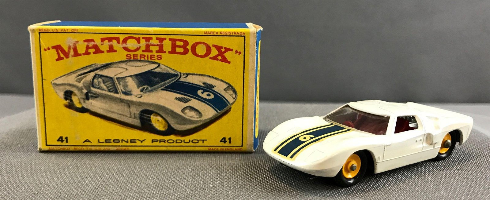 Matchbox No. 41 Ford G.T. die cast vehicle