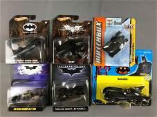 Group of 6 Batmobile Batman die cast vehicles in