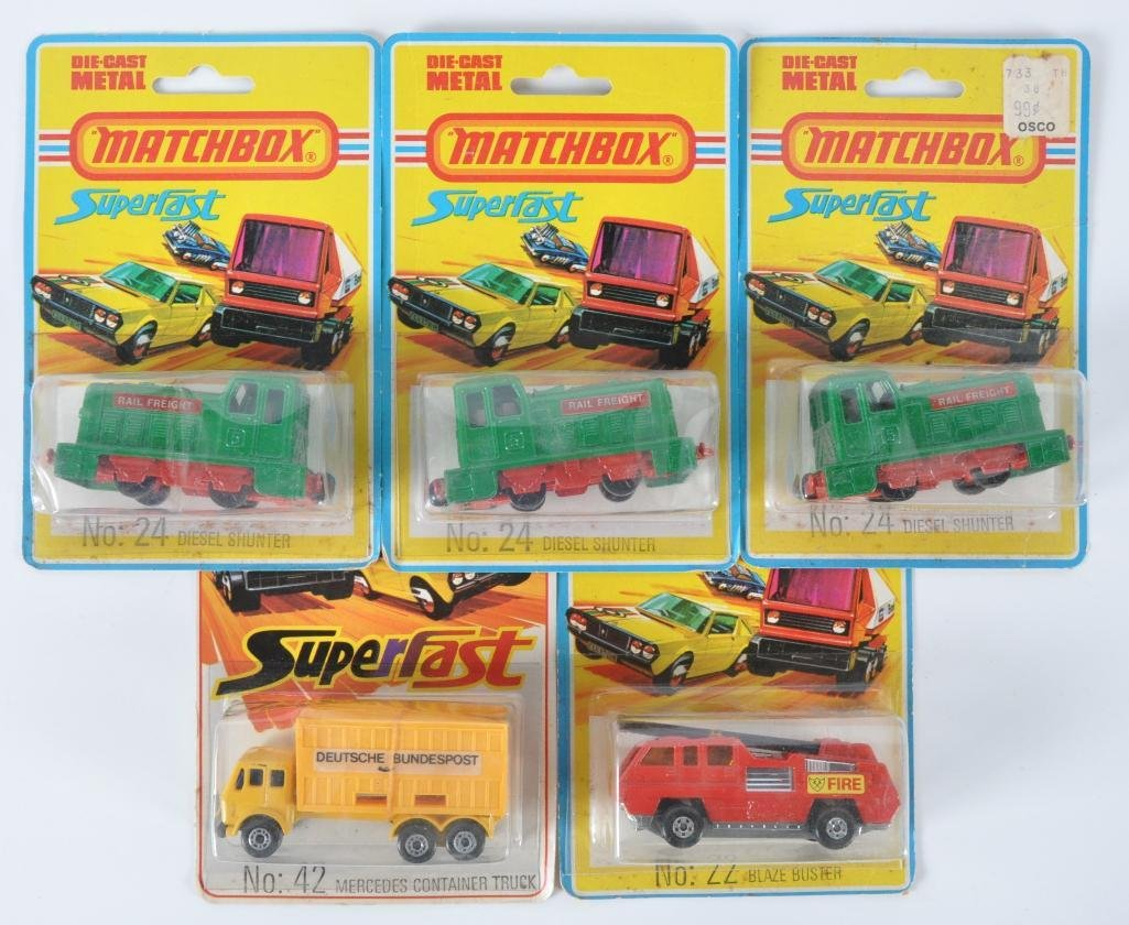 Group of 5 Matchbox Superfast Die-Cast Vehicles in