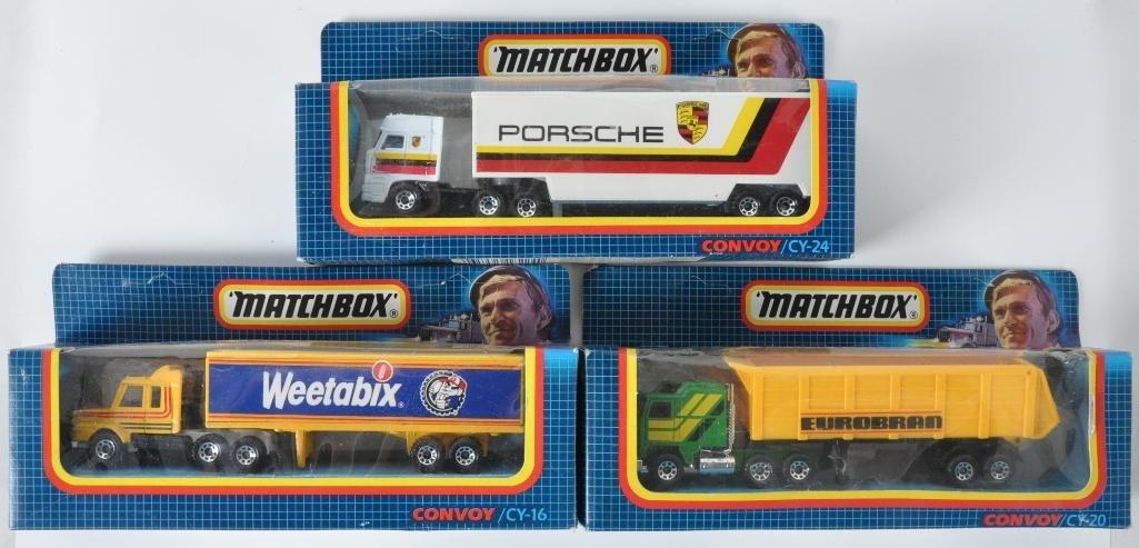 Group of 3 Matchbox Convoy Die-Cast Semi Trucks in