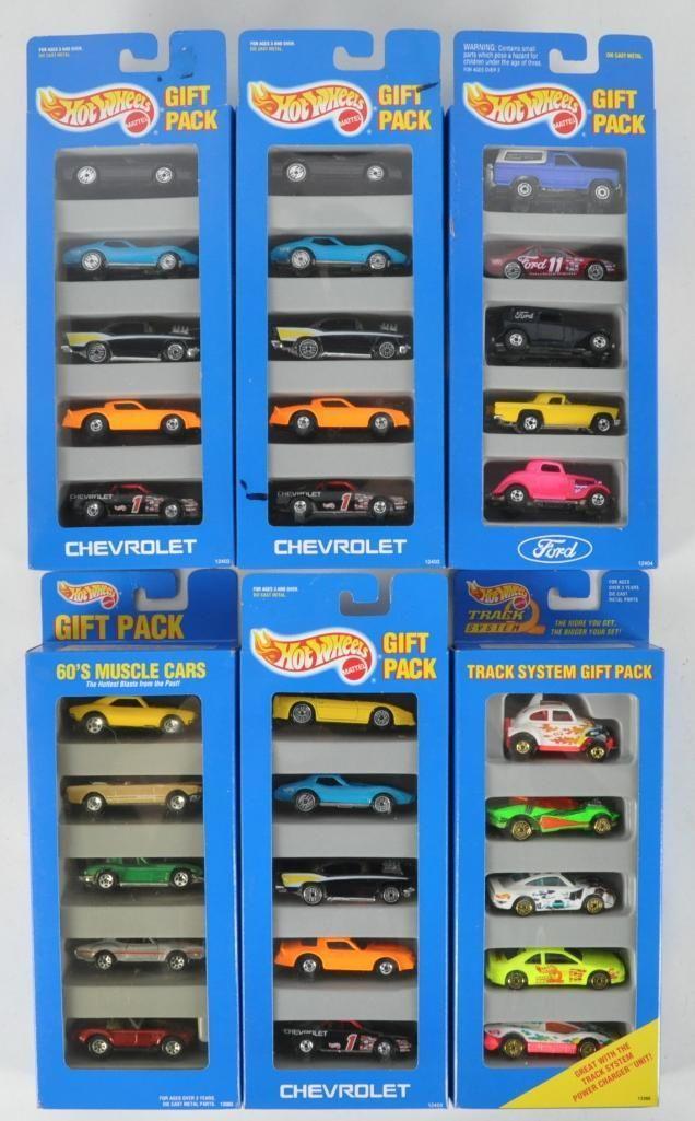 Group of 6 Hot Wheels 5 Car Die-Cast Vehicle Gift Packs