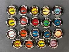 Group of 19 Mattel Hot Wheels Collector Badges