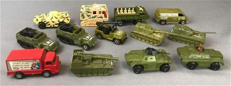 Group of 13 die-cast military vehicles and more
