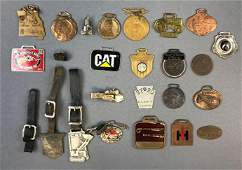 Group of 25 Vintage Watch Fobs Tags, pins and more