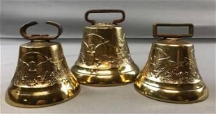 Group of 3 Vintage brass cattle bells