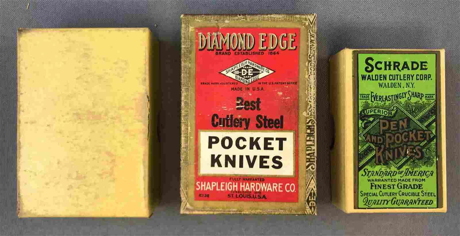Group of 3 Antique Pocket Knife Boxes