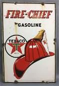 Vintage Texaco FireChief Gasoline Porcelain Pump Plate
