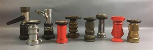 Group of 9 Vintage Fire Hose Nozzles