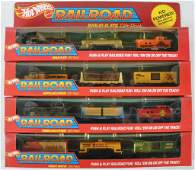 Group of 4 Hot Wheels Railroad Train Car Gift Sets in