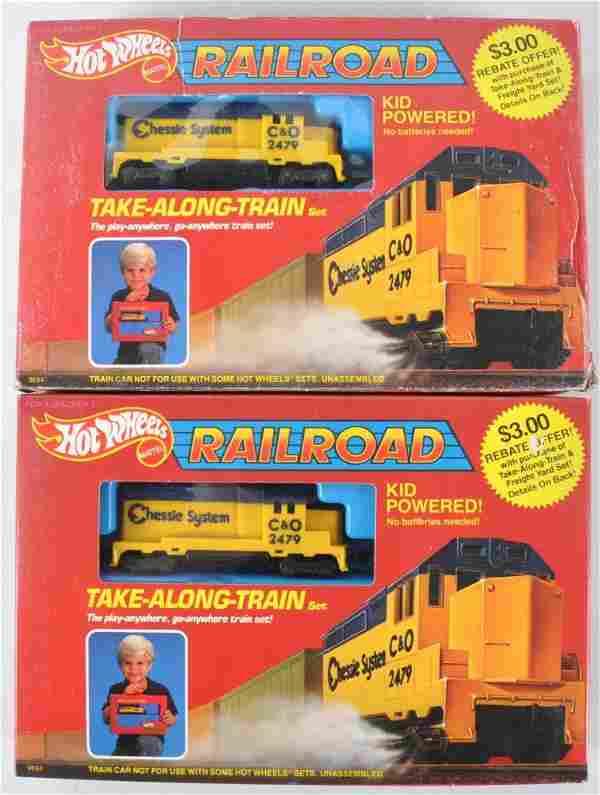 Group of 2 Hot Wheels Railroad Take-Along-Train Set in